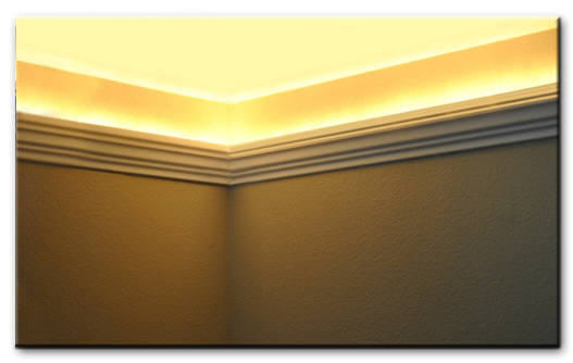 foam crown molding installed with round rope lights. Austin Crown Molding. www.styrofoamcrownmolding.com